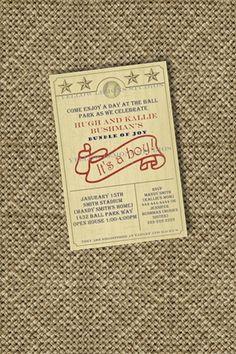 Vintage baseball baby shower invitation digital by yellowlemons, $14.00