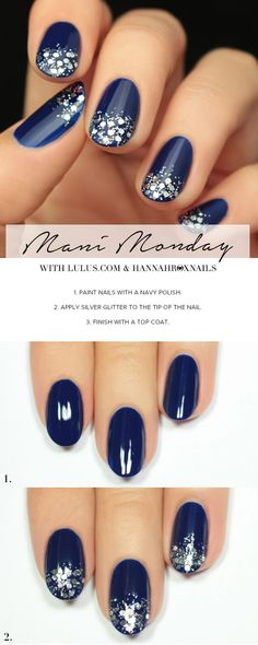 Mani Monday: Navy Blue and Silver Glitter Nail Tutorial | http://Lulus.com Fashion Blog | Bloglovin'