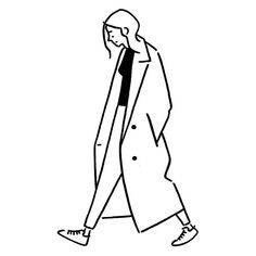 lady in trench coat minimal line illustration Art And Illustration, Illustrations And Posters, Character Illustration, Easy Drawings, Art Sketches, Sketch Drawing, Drawing Art, Art Inspo, Character Design