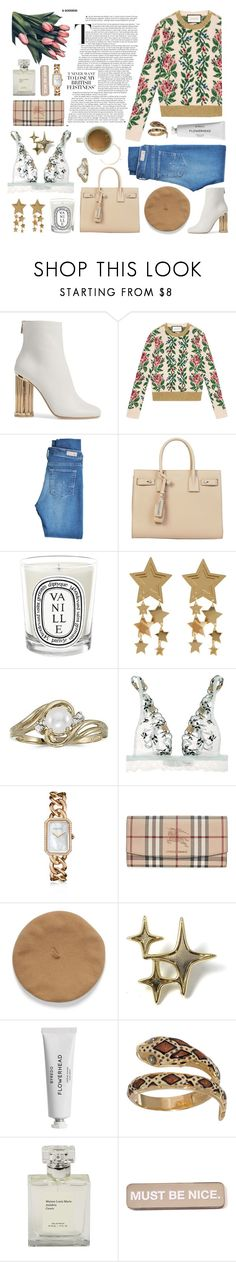 """anything that has reflections of you"" by typicalgemini ❤ liked on Polyvore featuring Salvatore Ferragamo, Gucci, AG Adriano Goldschmied, Yves Saint Laurent, Diptyque, BillyTheTree, La Perla, Chanel, Burberry and Byredo"