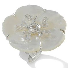 A. Jaron Studio Carved Mother of Pearl & White Topaz Sterling Flower Ring Size 6 #AJaronStudio #Flower