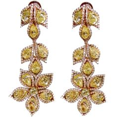 Important Fancy Yellow Diamond Earrings ❤ liked on Polyvore featuring jewelry, earrings, accessories, brincos, fancy yellow diamond earrings, canary diamond jewelry, round earrings, yellow diamond earrings and earring jewelry