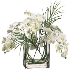 20 inch Phalaenopsis Orchid in Glass Vase from Artificial Plants and Trees