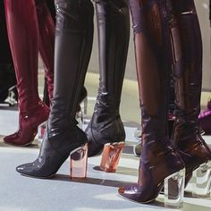Shoes: latex burgundy boots heels clear clear heel clear heels red black brown