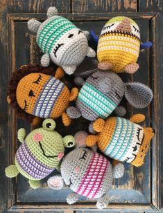 Crochet Cuties by FruMadsens #crochetlion #crochetmouse #crochetcheetah #crochetfrog ##crocheelephant #amigurumi