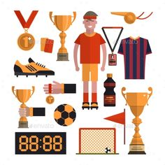 Soccer Icons Set. Football Isolated Design - Sports/Activity Conceptual