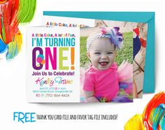 Rainbow Birthday Invitation first birthday by AbbyReeseDesign