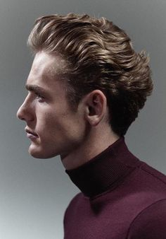 Blonde Push Back - Medium-length hair pushed back shows sophistication, while also making sure that the unruly hair is tamed with gel or hairspray. Wavy Haircuts, Undercut Hairstyles, Cool Haircuts, Haircuts For Men, Mens Hairstyles Blonde, Hairstyle Men, Latest Men Hairstyles, Cool Hairstyles For Men, Hairstyles 2018