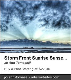 Fine Art America Storm-Front Sunrise Sunset Image Art in blue with sun rays Photography Prints for sale