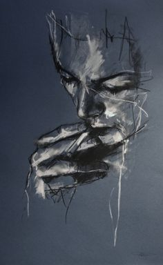 Privatise the air by Guy Denning Conte and Chalk on paper I love the simplicity of the image, only the most important sections are used. Also only the light and shadows are visible on those sections, creating a brooding and sombre feeling to the piece. I like the style as well, as it adds to the effect of smoke to the cigarette.