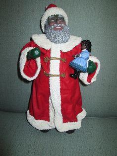 African American Clothtique Possible Dreams Santa Claus 1993 W/ Black Doll 1993