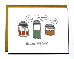 Funny Christmas card pun seasons greetings by DarkroomandDearly