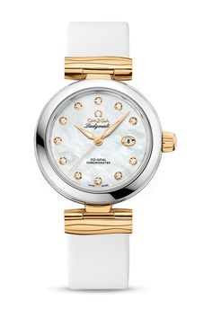 Omega 425.22.34.20.55.003 De Ville Ladies Ladymatic Co-Axial 34 mm - швейцарские женские наручные часы - белые, золотые часы + сталь