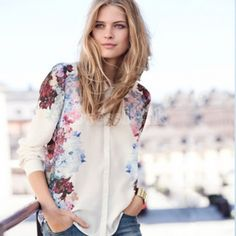 Korea Women's Long Sleeves Floral Print Chiffon Tops Blouse Shirts