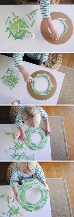 paper strip wreath diy using cardboard from a frozen pizza