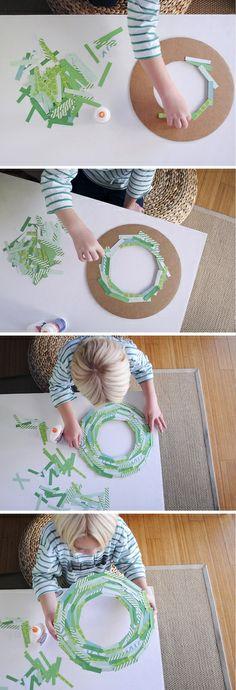 paper strip wreath diy using cardboard from a frozen pizza