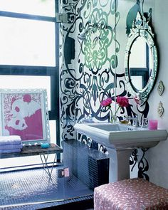 A Manhattan master bath with Cynthia Rowley-designed wall treatment.
