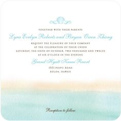 On the Horizon - Signature White Textured Wedding Invitations in Teal | Lady Jae