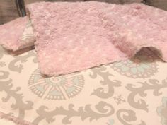 Pink and Gray Rosa Baby Girl Blanket with Pink by MyRaggyObsession, $32.00