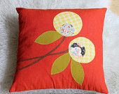 ON SALE Hand Printed Cotton Canvas Pillows, Lollipop Flowers, Cobalt and Navy