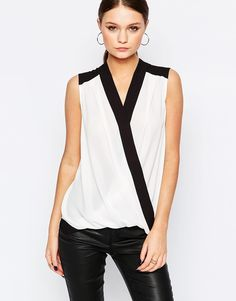 Image 1 ofNew Look Contrast Wrap Front Top