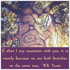 If what I say resonates with you, it is merely because we are both branches on the same tree. ―W.B. Yeats ✰ Simply Spiritual on facebook ✰~ .https://www.facebook.com/SimplySpiritual9