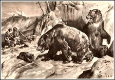 Cave bear | Zdeněk Burian (1905-1981) | Prehistoric Animals (1960)