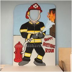 This Fireman photo prop is perfect for any Fireman themed birthday party or event. This Fireman Cutout is Hand Painted on 46x30 1/2in sanded plywood. The wooden cutout can withstand almost any weather condition, ideal for long term outdoor use. If you would like me to include a