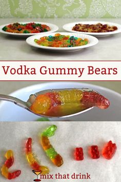 When you soak gummy bears in vodka, they absorb the alcohol, get bigger, and turn into yummy fruity Vodka Gummy Bears. With this method, you can do it in just a few hours instead of the usual week in the fridge. Drunken Gummy Bears, Best Gummy Bears, Vodka Gummy Bears, Gummi Bears, Fun Drinks, Yummy Drinks, Yummy Food, Alcoholic Desserts, Recipe Mix