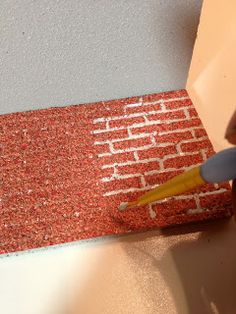 Realistic Bricks from Plastic Sheets, paint over with valspar stone fiesta, add grout lines with sandstone paint