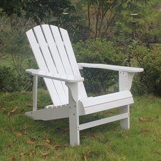 Outdoor Wood Adirondack Chairs/Muskoka Chair Patio Deck Garden Furniture  (Adult,White)