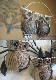 20 Genius DIY reciclado e reutilizado Art Christmas - Weihnachten Handwerk - Natal Owl Crafts, Holiday Crafts, Diy And Crafts, Crafts For Kids, Arts And Crafts, Crafts From Recycled Materials, Recycled Crafts, Cardboard Crafts, Paper Crafts