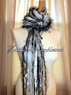 Fringe scarf Black white and silver Bling by Southernbornnblessed