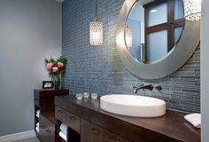 contemporary bathroom, blue glass tile with dark wood vanity