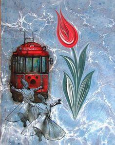 Ebru-Atilla Can-(Marbling Art) Istanbul, Ebru Art, Whirling Dervish, Image Glass, Water Marbling, Indigo, Turkish Art, Marble Art, Sufi