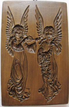 Springerle cookie mold: wood & resin, Two angels, one with musical instrument, one with cornucopia of flowers, from House on the Hill
