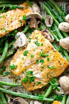 Baked salmon in lemon garlic parmesan sauce with mushrooms and green beans,