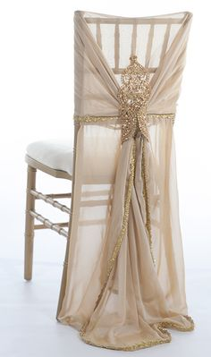 The Nala chair sleeves will offer a majestic and regal feel to your event. This uniquely crafted chair sleeve is designed with lush chiffon and adorn with a unique beaded embellishment.