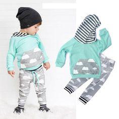 81551712751c Newborn Baby Boys Pocket Hoodie Sweatshirt Top+Long Pants 2pcs Set Cute Newborn  Baby Boy