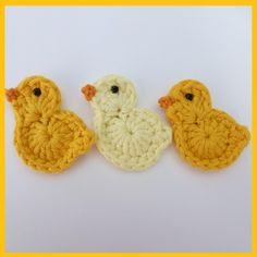 3 Large crochet Easter chicks, appliques and embellishments £3.00 #CrochetEaster