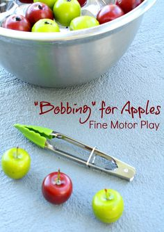Bobbing for Apples Fine Motor Fall Activity - Fantastic Fun & Learning Bobbing for Apples fine motor play fall activity for kids Fall Activities For Toddlers, Apple Activities, Motor Skills Activities, Fine Motor Skills, Apple Games, Summer Activities, Preschool Apple Theme, Fall Preschool, Preschool Apples
