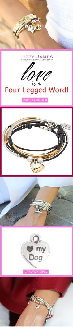 LOVE is a Four Legged Word! Celebrate YOUR Fur Baby and enjoy Savings on your first order with code WELCOME plus FREE Shipping on all standard rates.  Featuring wrap bracelets that can be worn as necklaces.  Handmade in the USA.   #LizzyJames