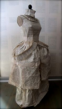 Paper Dress book art - dress sculpture made from pleated, layered and crumpled book pages