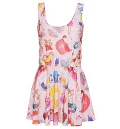 EXCLUSIVE Ladies All Over Print Vintage Toys Sleeveless Circle Dress