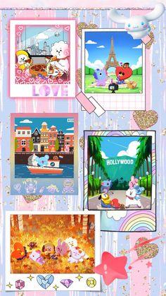 K Wallpaper, Bts Aesthetic Pictures, Kpop Drawings, Bts Backgrounds, Bts Chibi, Line Friends, Line Illustration, Bts Lockscreen, Bts Pictures