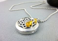 Golden Citrine Aromatherapy Locket, Essential Oil Diffuser Necklace, Gemstone and Stainless Steel Pendant, 25mm Lotus Diffuser Pendant