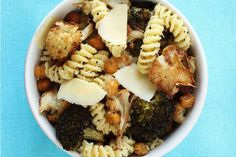 Parmesan Fusilli with Roasted Chickpeas, Broccoli and Cauliflower