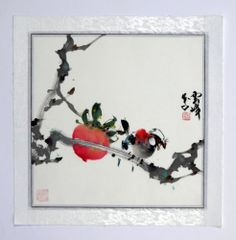 "Chinese Painting Xieyi Birds Flowers Fruit Peach 16x16"" Watercolor Brush Ink Art | eBay"