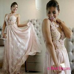 Lace Pink Long Formal Dresses 2018 Pearls A-line Chiffon Evening Gown PD20187150
