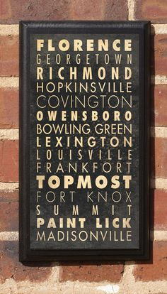 Cities of Kentucky Subway Scroll Vintage Style Wall by CrestField